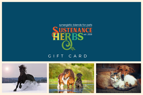 sustenance herbs for pets gift cards for herbal formulas and botanicals for pets