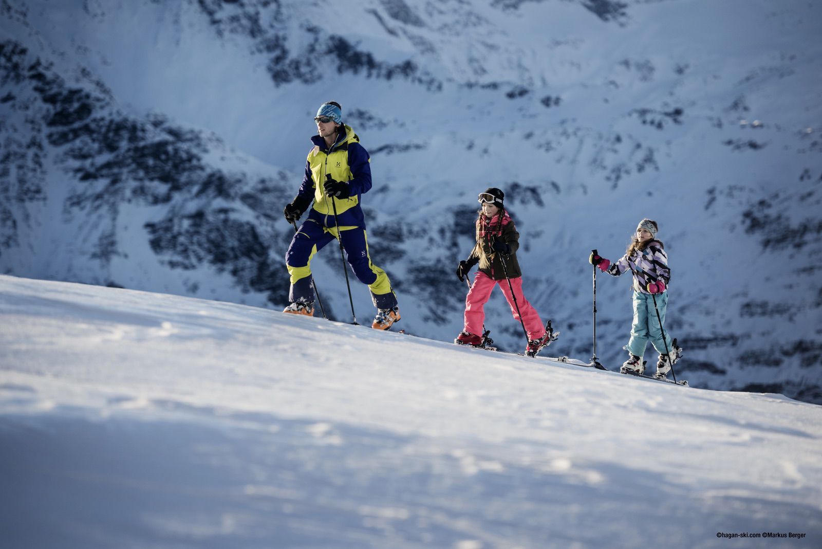 Kids alpine ski touring on Hagan Junior ski gear