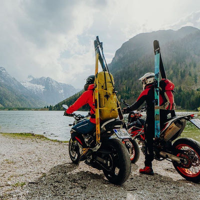 Motorcyclists with Hagan Ski Mountaineering Boost 99 Freeride alpine ski touring ski - award winner Backcountry Magazine Editor's Choice