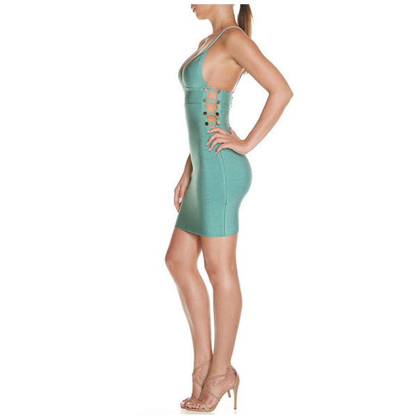 GLORIA Button Cut Out Bandage Dress