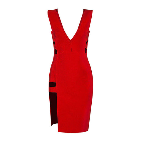 ANDREA Deep V High Low Bandage Dress