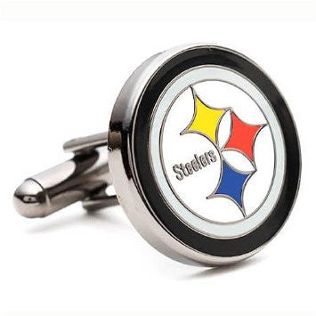 Pittsburgh Steelers Football Team Silver Men's Cufflinks