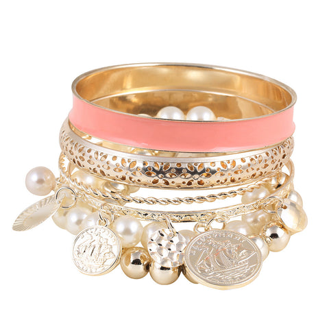 Pearl Coin Multilayer Charm Bangles