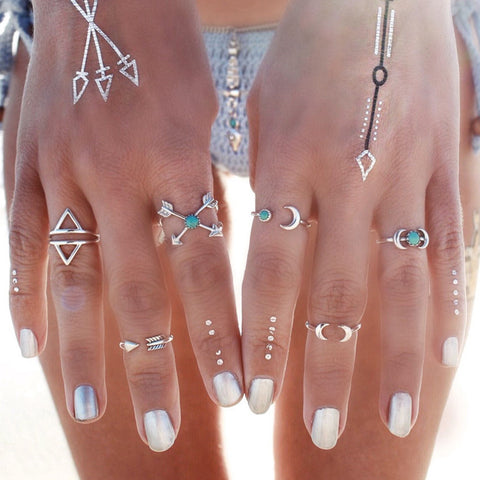 Moon and Arrow Ring Set