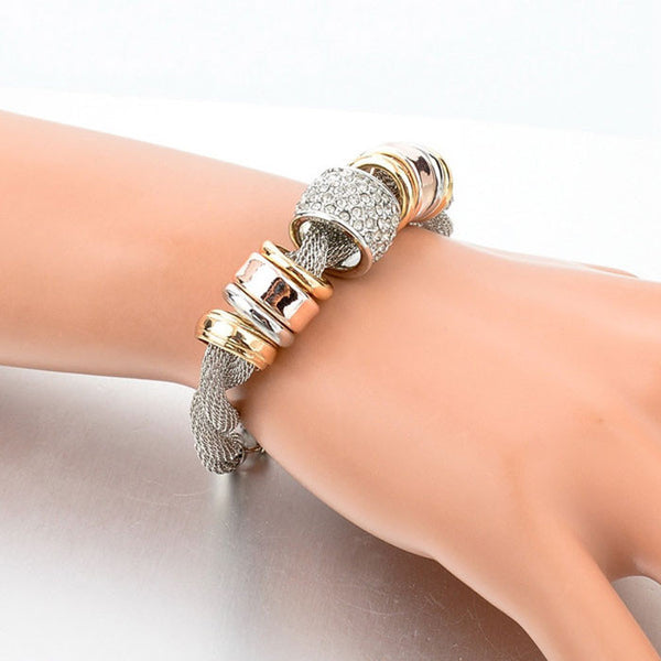 18K Gold Plated Twisted Austrian Crystal Bangle