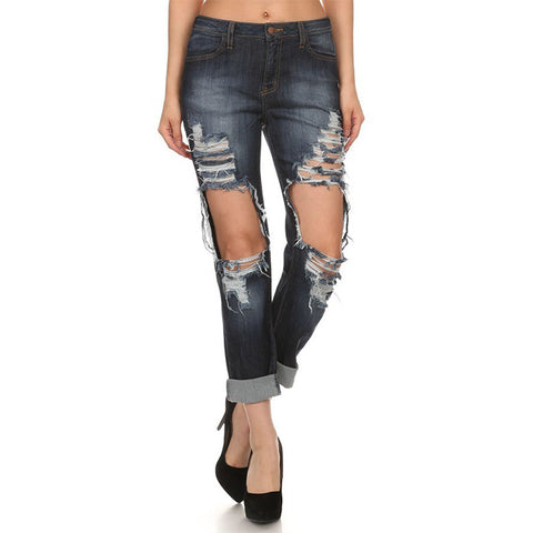 NATY Destroyed Denim Boyfriend Jeans