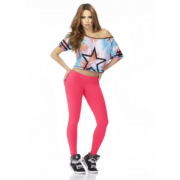 Off The Shoulder Star Jersey Workout Top