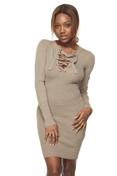 LINA Lace Up Deep-V Sweater Dress