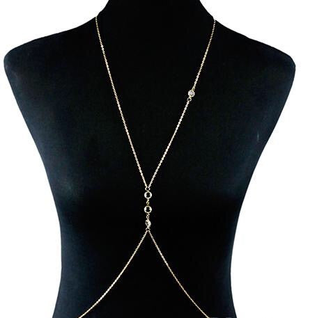 Crystal Layered Body Chain Necklace