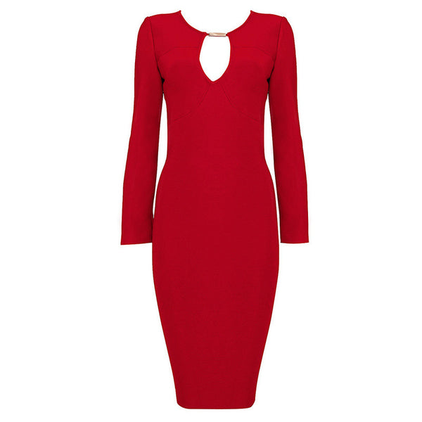 PENNY Red Key Hole Bandage Dress
