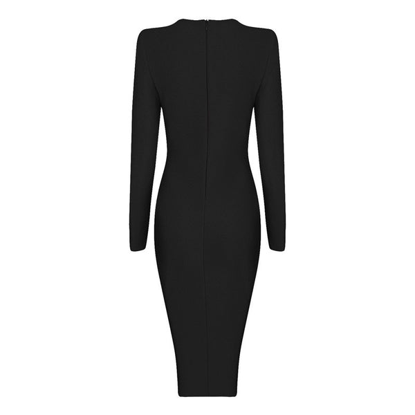 CONSTANTINA Long Sleeve Deep V Bandage Dress