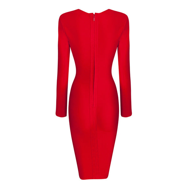 SHERRY Deep V Long Sleeve Bandage Dress