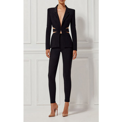 LOUELLA Women's Cut Out Blazer and Pants Suit