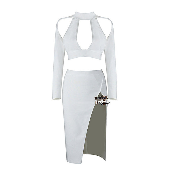 LAYLA 2-Piece Cut Out Crop Top and High Slit Buckle Skirt