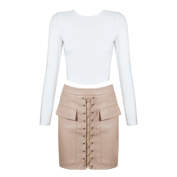 CLEO 2-Piece Crop Top and Faux Leather Skirt Set