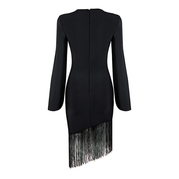 ELIZA Long Sleeve Fringe Cocktail Dress