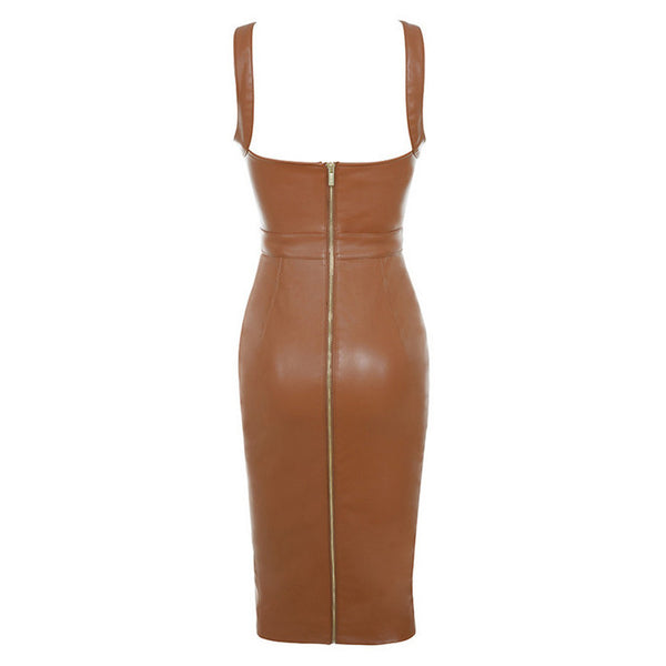STELLA Faux Leather Cocktail Dress