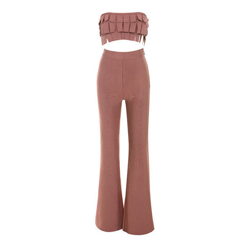 FERGY Fringe Crop Top and High Waisted Bell Bottom Pants