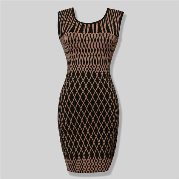 GEORGINA Black and Beige Bandage Dress