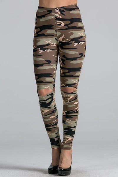 ABIA Cut Out Camo Leggings