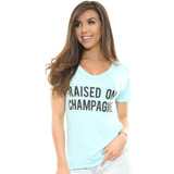 CHELSEY'S V-Neck Flowy T 'Raised on Champagne'
