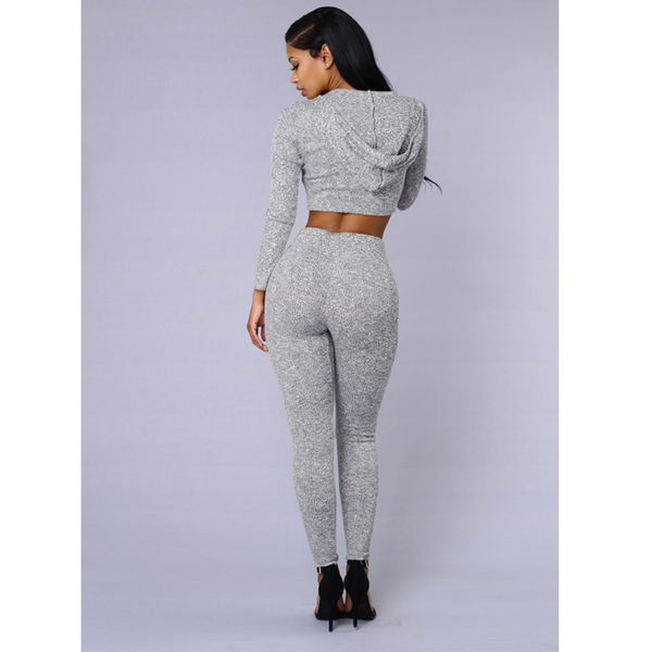 ONESI 2-Piece Long Sleeve Hoodie Crop Top & Pant Set