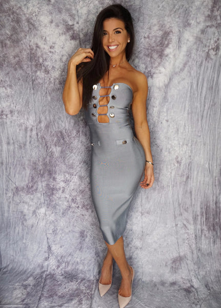KAMA Cut Out Strapless Cocktail Dress