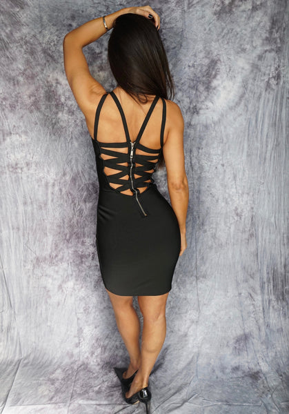FIONNA Criss Cross Open Back Spaghetti Strap Dress