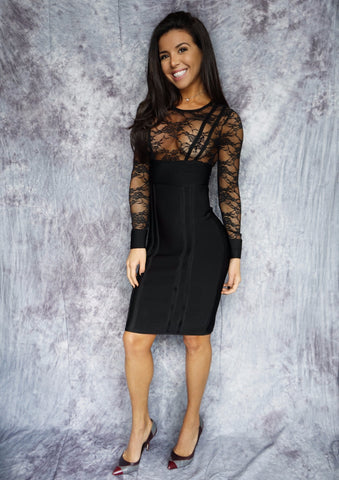 JANNA Floral Lace Bandage Dress