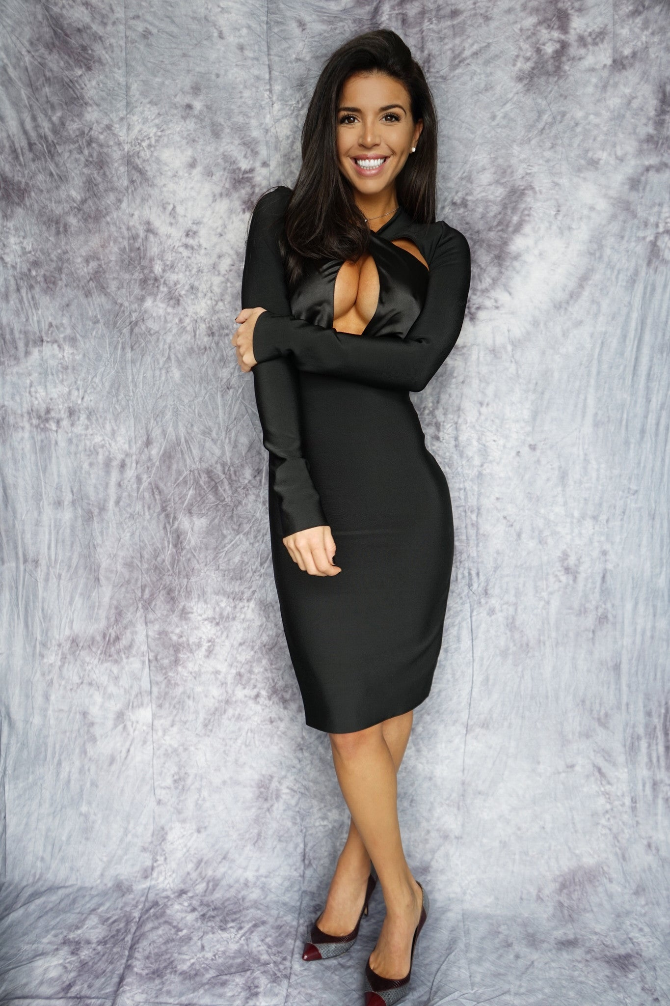 MISHA Long Sleeve Cut Out Bandage Dress