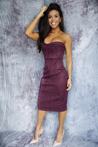 BELLE Maroon Suede Bustier Bandage Dress