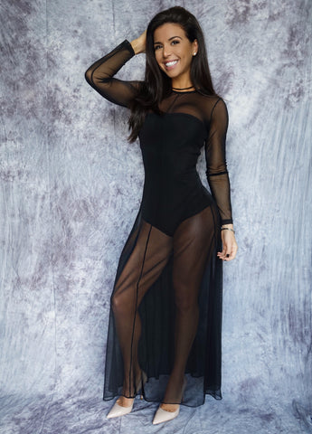 LINETTE Long Sleeve Mesh Dress