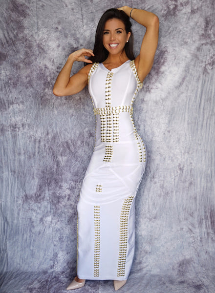 Sade's Beaded Long Bandage Gown
