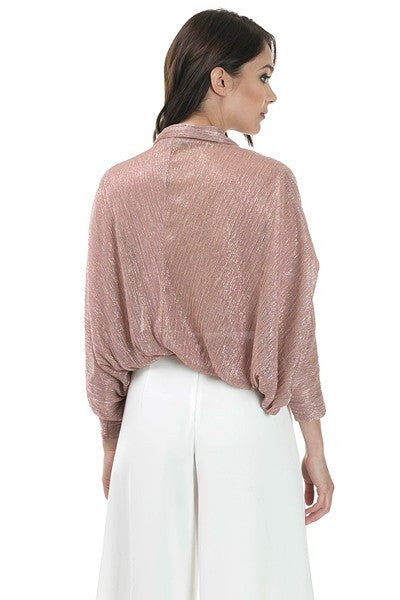 ROSE Shimmer Dolman Sleeve Bubble Top