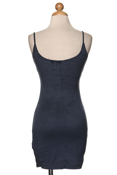 KRYS Blue Vegan Suede Bodycon Mini Dress