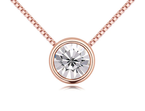 Solitaire Crystal Pendant Chain Necklace