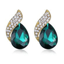 Chic Green Crystal & CZ Statement Stud Earrings