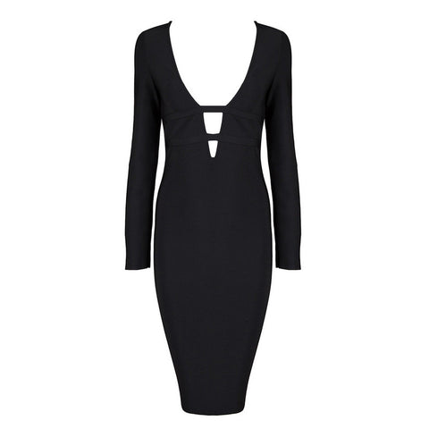 KARLA Long Sleeve Deep V Bandage Cocktail Dress