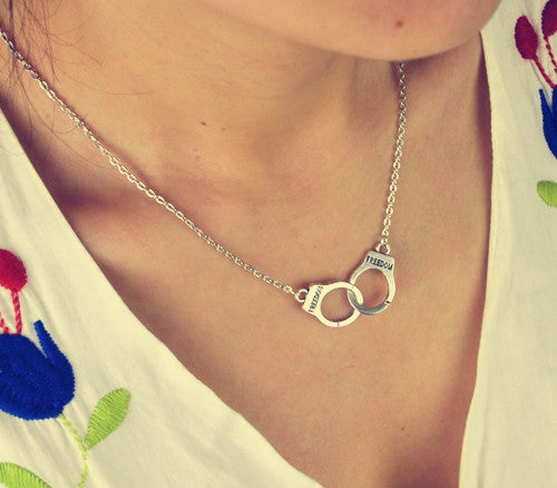 Freedom Hand-Cuff Chain Pendant Necklace