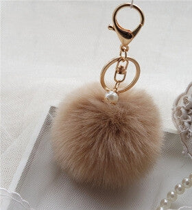Fur Pom-Pom Pearl Key Chain