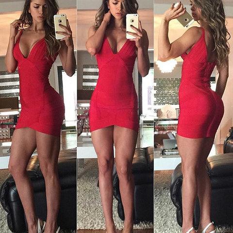 SAGRA Spaghetti Strap Bandage Mini Dress