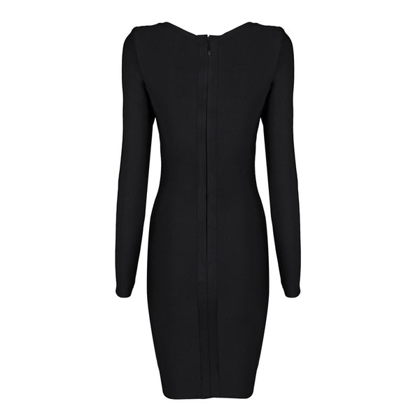VERO Long Sleeve Deep V Bandage Dress