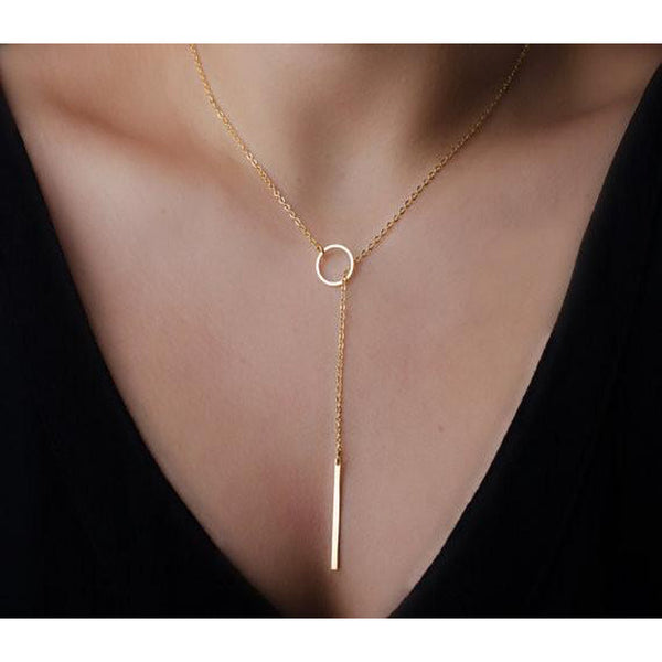 Stylish Drop Bar Pendant Necklace
