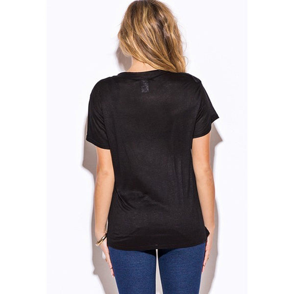 FRANCES Low Neck Short Sleeve Slub Tee Top