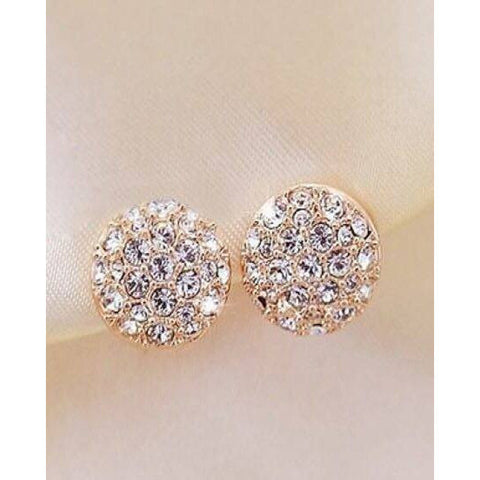 Zircon Encrusted Gold Stud Earrings