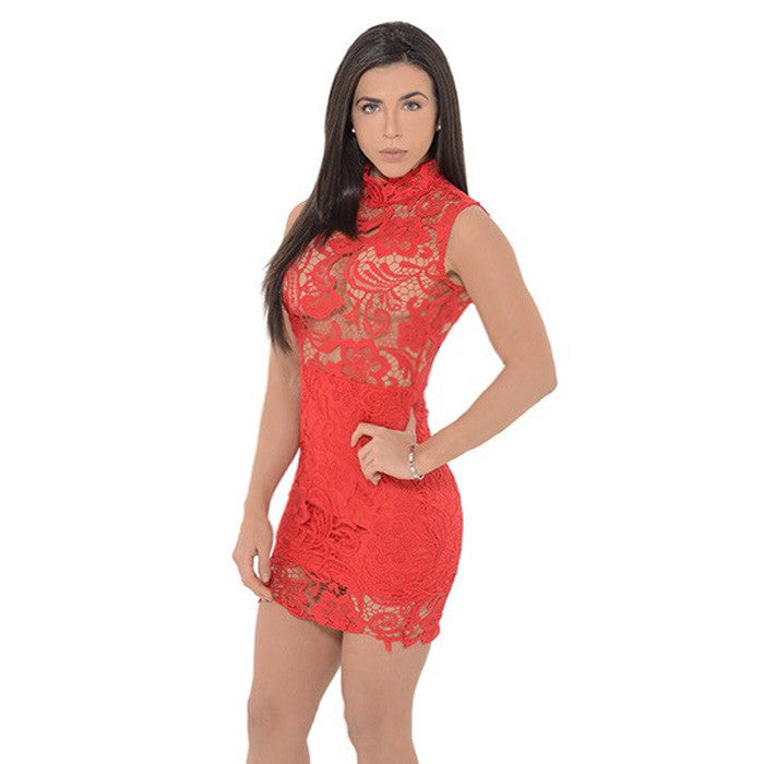 MONIQUE Lace Sleeveless Mini Dress