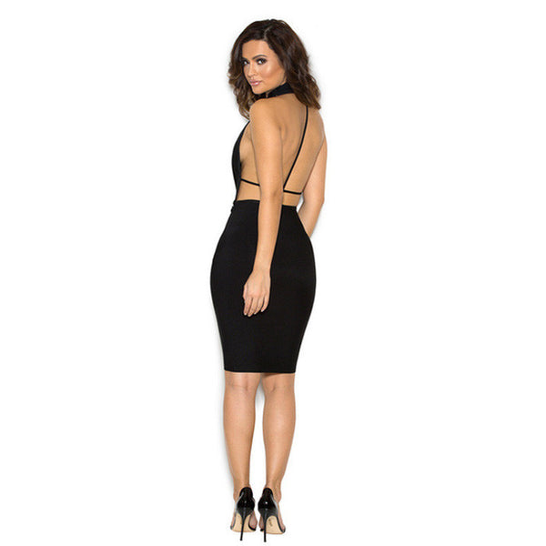RAQUEL Halter Top Open Back Dress