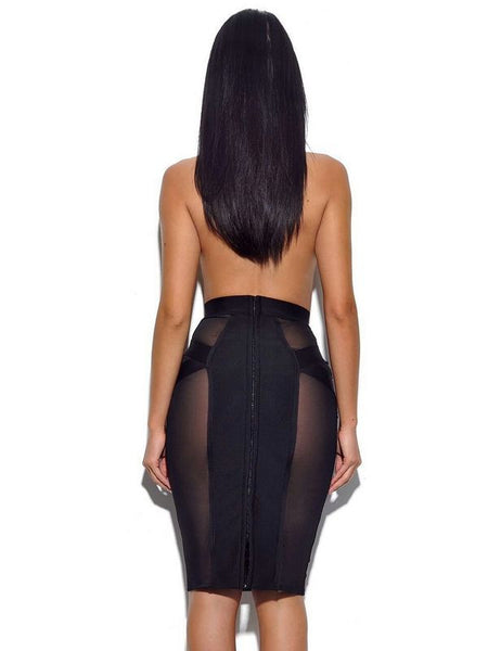 BONNIE Sheer Mesh Insert Pencil Skirt