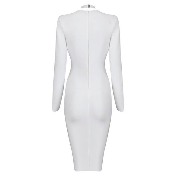 RENATA Long Sleeve Deep V Bandage Dress