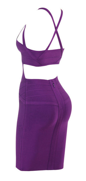 YOLANDA Sleeveless Spaghetti Strap Bandage Dress